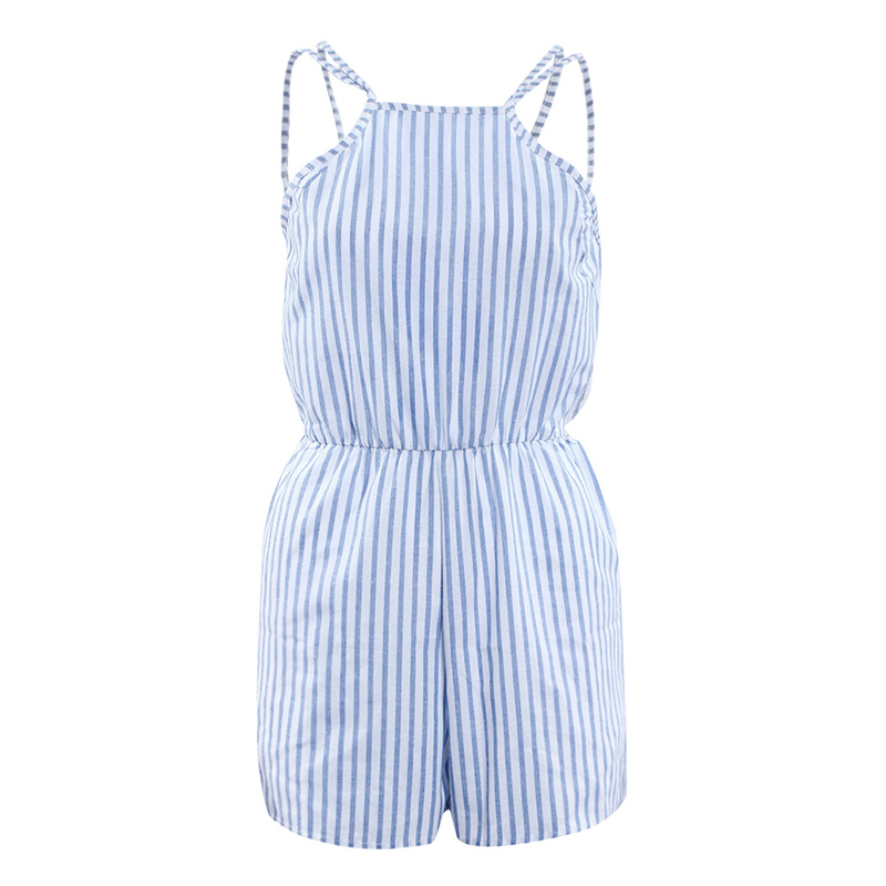 Newly Fashion Women Summer Beach Striped   Jumpsuit   Halter Backless Playsuit Bodycon Clubwear Party Shorts Overalls VK-ING