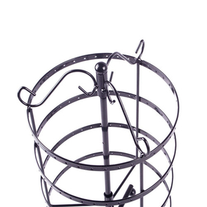 Image 5 - 144 Holes Round Rotating Jewellery Display Stand Black Metal Earrings Holder Organizer Stand Rack #46674