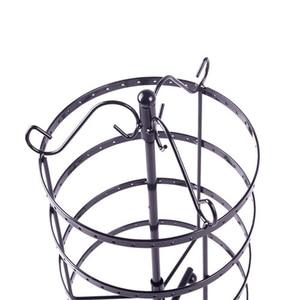 Image 5 - 144 חורים עגול מסתובב תכשיטי תצוגת Stand שחור מתכת עגילים ארגונית מחזיק Rack Stand #46674