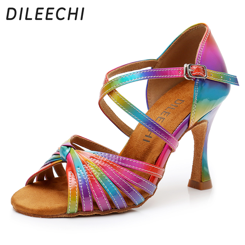 Hot Sale Women Fashion Rumba Waltz Prom Ballroom Latin Salsa Dance Sexy High Heels Shoes Sandals Ladies Zapatos De Baile 15 Fancy Colours Other