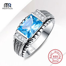 Charming 9x7mm 3.54CT Blue Cubic Zirconia 100% 925 Sterling Sliver Ring Party Wedding Engagement Jewlery Size 6 7 8 9