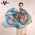 100% Silk Scarf Square Luxury Brand Big Size Shawls And Scarves Printed Golden Le Palais Vintage Foulard Femme Hiver 135*135CM
