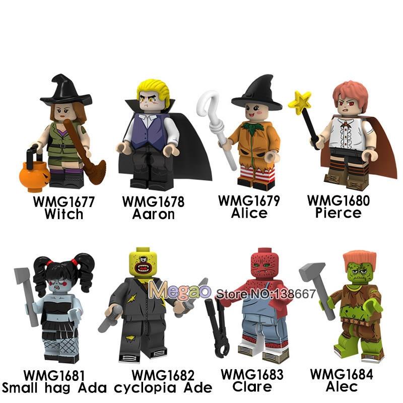 50 Pcs/lot Halloween Series Legoingsbuilding Blocks Witch Aaron Alice Pierce Aggreko Ada One-eyed Eide Claire For Children Toys Model Building Blocks