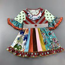 e30a5f09218005 Katoenen Baby Meisjes jurk Zomer herfst bloemen Bloem boutique Zuigelingen peuter  Kinderen ruches meisje prinses jurken