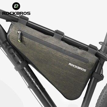 Rockbros 자전거 삼각형 가방 휴대용 대용량 방수 자전거 가방 mtb 도로 자전거 전면 프레임 튜브 가방 액세서리