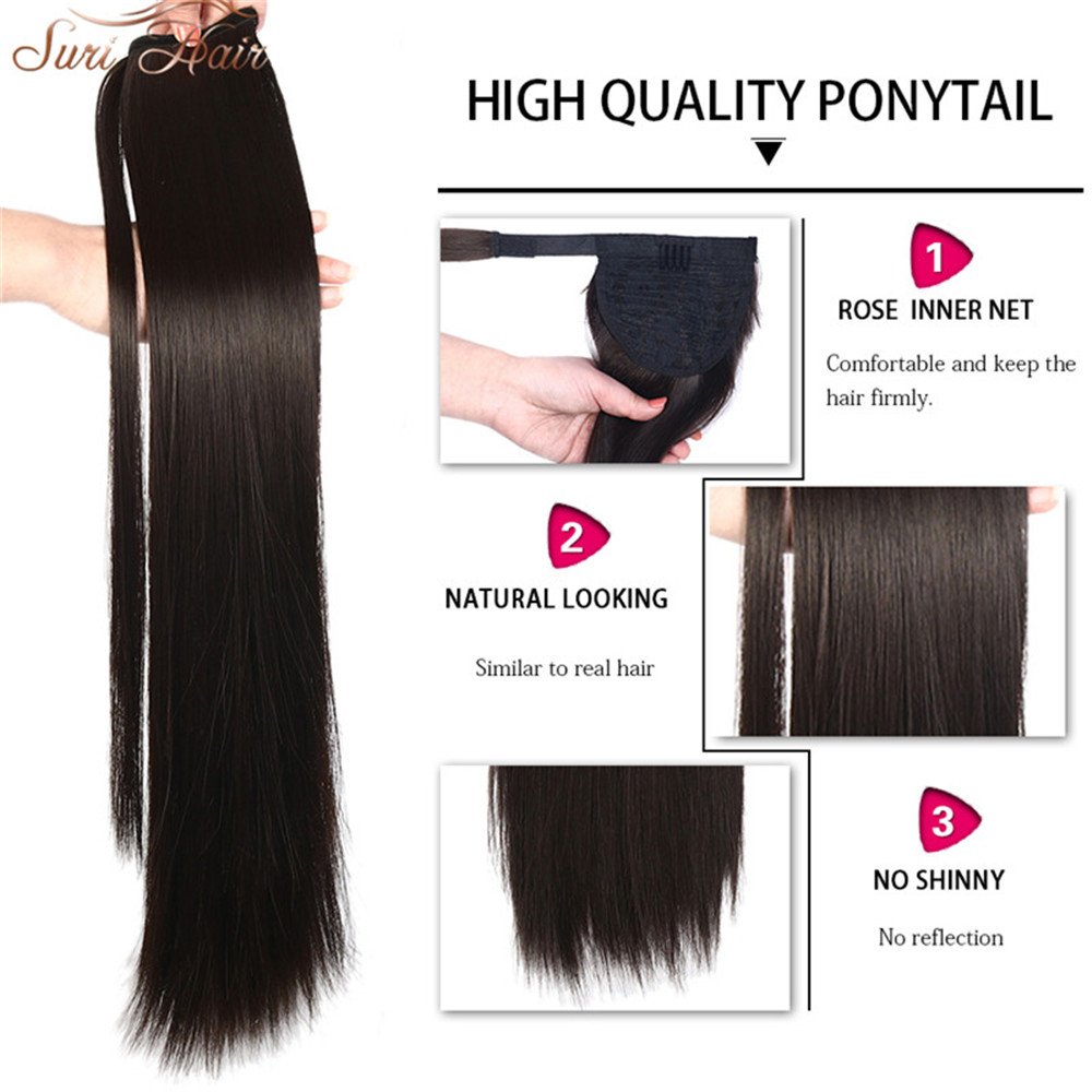 HTB1O06gbAUmBKNjSZFOq6yb2XXaw - Suri Hair 24'' Long Silky Straight Ponytails Clip In Synthetic Pony Tail Heat Resistant Fake Hair Extension wrap round hairpiece