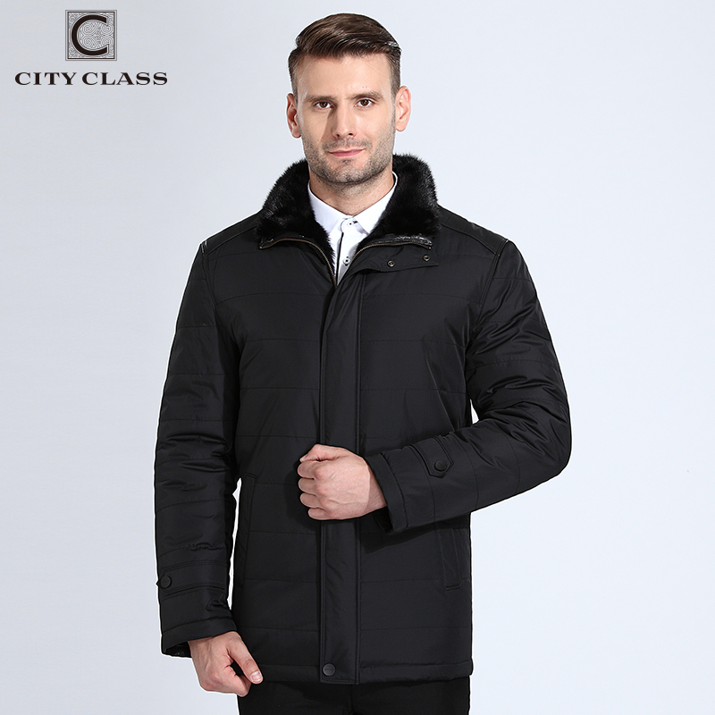 CITY CLASS New Big Men Thick Warm Winter Jacket Casual Thinsulate Mink Stand Collar Outerwear Personal Tailor Winter Coats 12-02