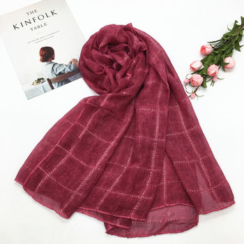 New Spring Cotton Muslim Hijabs Scarves/scarf Rope Embroidered Plaid Scarf Women Turban Shawls Headband 1pc 80*180cm new cotton women scarf solid color crumple retro scarves with short tassels 180cm big shawls muslim female hijabs