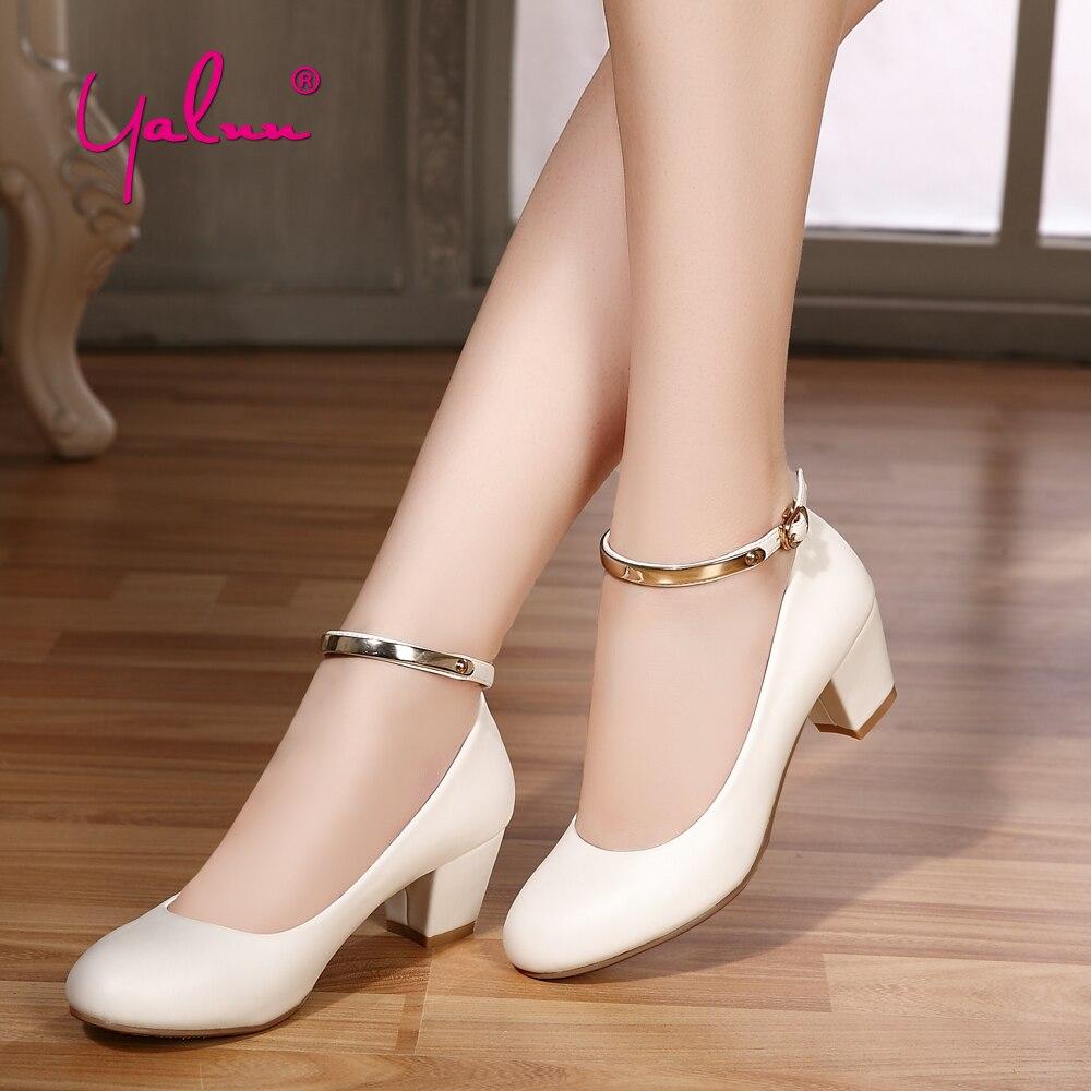 5 cm En Cuir Mary Jane Chaussures pour Femmes Blanc Pompes Femmes Chaussures noir Élégant Boucle Sangle Carré Talons hauts Plus La Taille D'été 2018