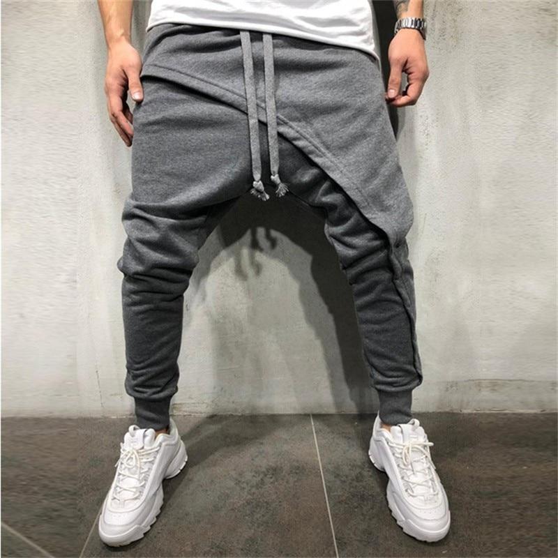 Men Asymetric Layered Jogger Pants Streetwear Jogger Pants Slim Fit Casual Drawstring Close Bottom Pants Mens Pencil Pants