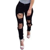 Vogue Cổ Điển Hợp Thời Trang Mới Nhất Cao Eo Trắng Quần Denim Ripped Holes Skinny Jeans Magic New Handmade Độc Đáo