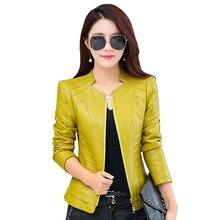 Women Spring Autumn 2017 New Leather Coat Short Slim Motorcycle Clothing Female Plus Size 4XL Jacket Y576