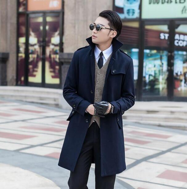 3e2ea895d7a61 الملابس casaco أزياء الرجال رمادي وحيد الصدر معطف الصوف معطف خندق المعاطف  sobretudo manteau أوم plus size s-9xl