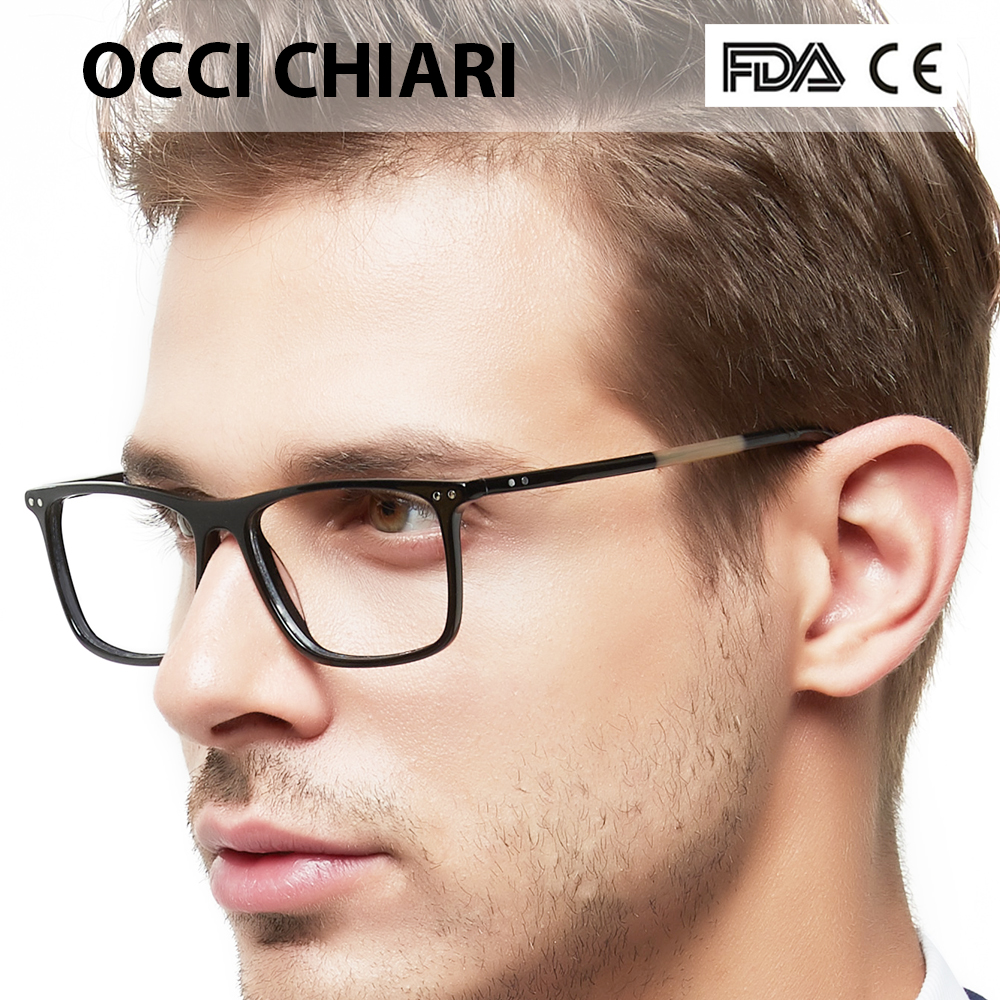 OCCI CHIARI Frame Eyeglasses Frames Men Prescription Acetate Male Fashionable Spectacle Frames Optical Glasses Black W-COSCO