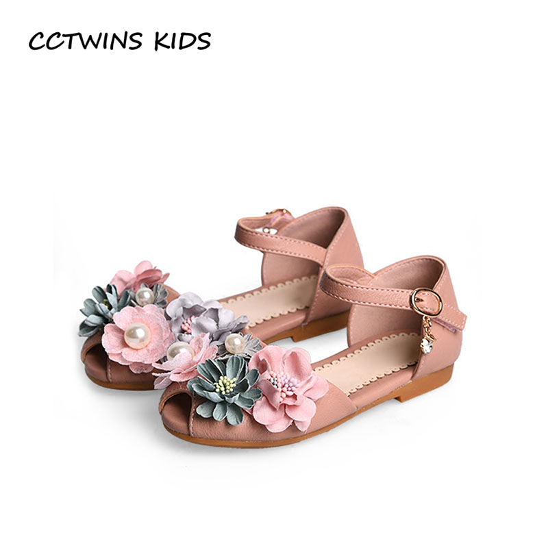 CCTWINS KIDS 2018 Summer Girl Flower Party Shoe Children Pu Leather Flat Girl Fashion Pearl Princess Sandal Black BP284 cctwins kids 2018 girl fashion gladiator sandal children pu leather flat shoe toddler brand barefoot sandal baby bg006
