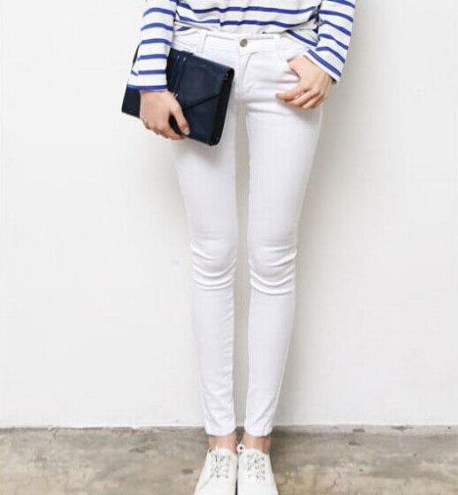 a181f8ab9 Buenas noticias 2015 Strech para mujer blanco   negro Jeans mostrar Thin  pantalones apretado Joker pantalones