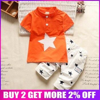 ed1bc0ee6 Bibicola bebé niños conjuntos de ropa para niños ropa de verano niños  trajes de algodón de la estrella T-shirt + Pantalones cortos niños de moda  conjunto de ...