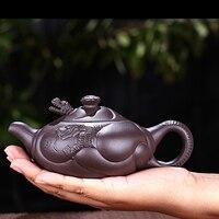 300ML Yixing Purple Grit Teapot Famous Handmade Health Raw Ore Laozi Mud Art Pot Kung Fu Tea Set Black Puer Tea Kettle Gift Box