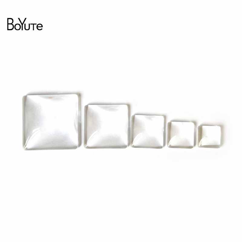 BoYuTe Diy Jewelry Findings Components 10MM 12MM 15MM 20MM 25MM 30MM Square Shaped Transparent Glass Cabochon Stone