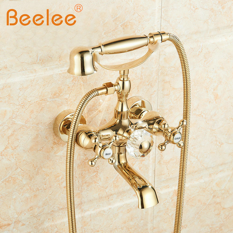 Beelee BL0720G Free Shipping Gold Finish Wall Mounted Bath Rain Shower Faucet Set + Handheld Shower & Tub Faucet