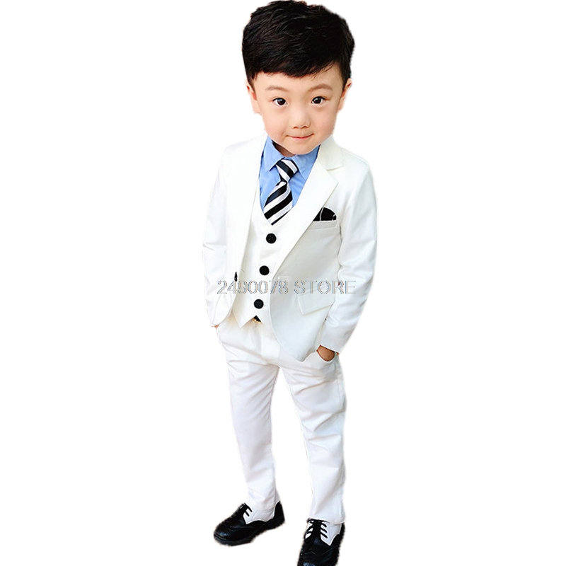Flower Boys White Blazer Wedding Suit Brand Kids Ceremony Formal Suit with Bowtie Flower Boys Party Tuxedos Costume Suit image