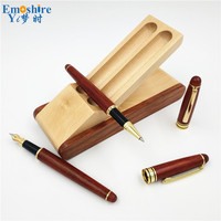 Top Quality Double WoodenBrand Ballpoint Pen Fountain Pen Pencil Case Gift for School Office Writing Supplies P552