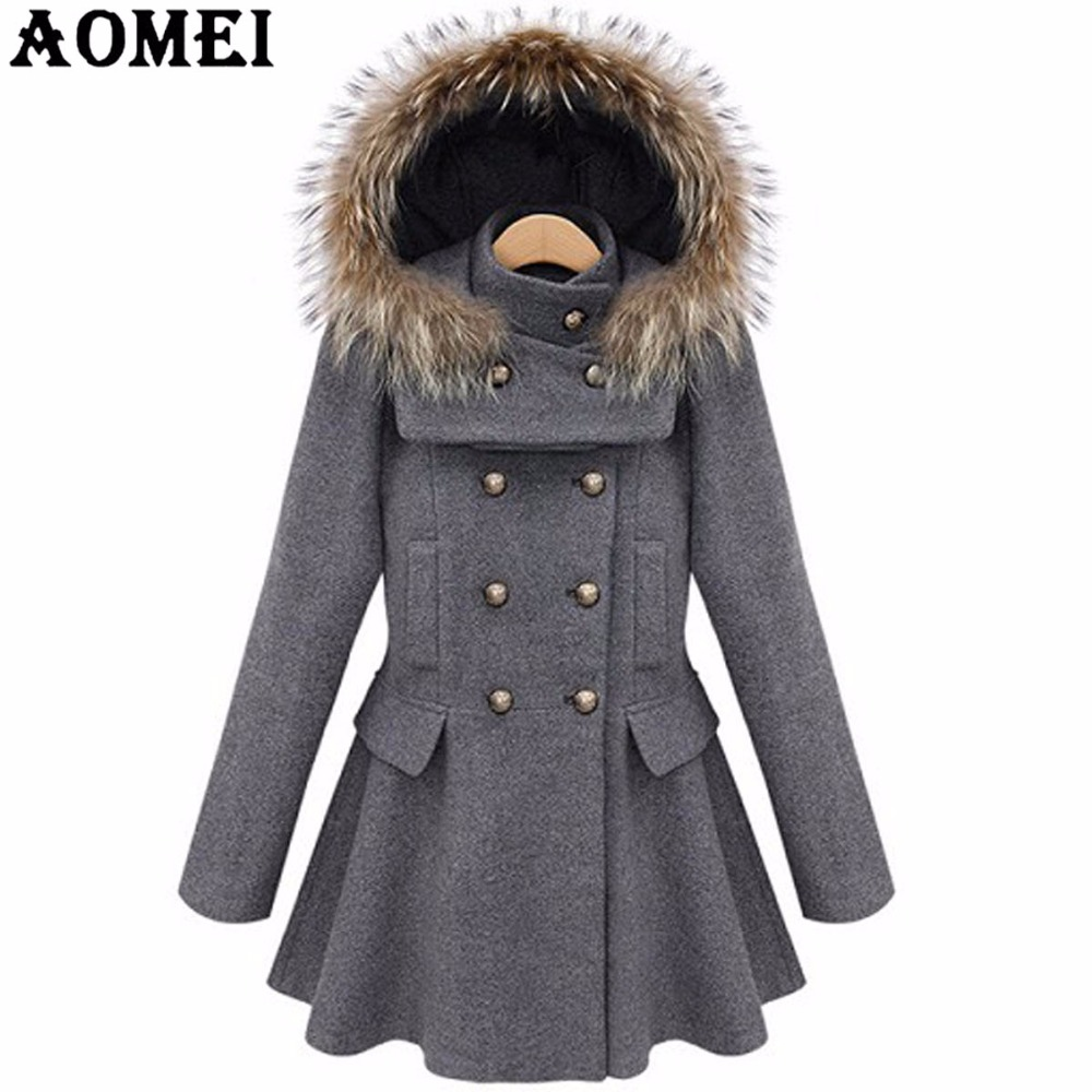 Women Woolen Overcoat with Fur Hat Office Lady Workwear Gray Blue Clothing Winter Double Button Design