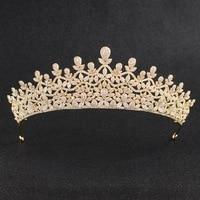 Crystals CZ Cubic Zirconia Wedding Bridal Royal Gold Tiara Diadem Crown Women Prom Hair Jewelry Accessories CH10141