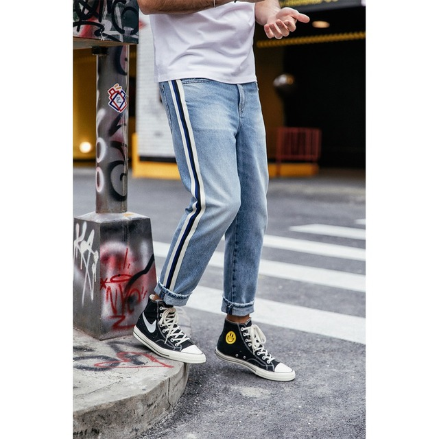 High Quality Striped Loose Denim Jeans For Men
