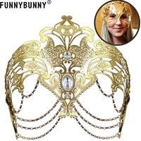 FUNNYBUNNY Masquerade Mask Metal Venetian Mask Halloween Mardi Gras Christmas Wedding Party Halloween