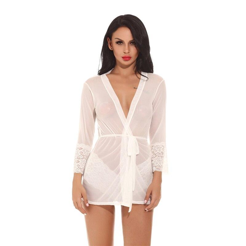 Women's Pajamas Sleepwear Women See Through Sexy Robe Bathrobe Soft Lace Mesh Nightgowns Plus Size Femme Lace Floral Dress Satin
