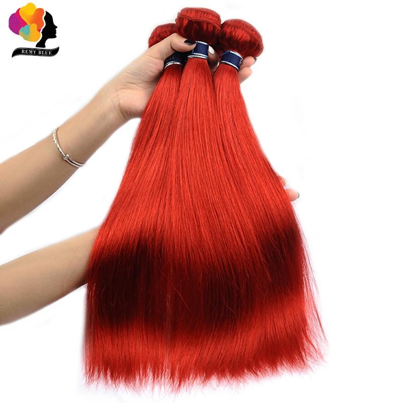 Haarverlängerungen Echthaarverlängerungen Analytisch Remyblue Burgund Bundles Indisches Menschenhaar 3 Bundles Bold Red Gerade Haarwebart Bundles 100% Remy Haar Dicken Schuss Keine Verschütten