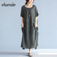 Elseisle Elegant Women Long Dress Cotton Linen Casual 2017 Summer New Vintage Dress Korean Style Casual