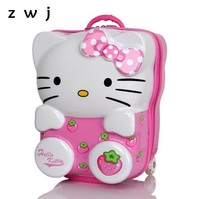 13,18 Inch Student Hello Kitty Backpack suitcase on wheels for children,Girls Kid Rolling Luggage