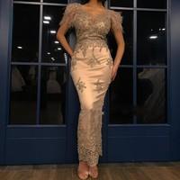 abiye Gold Evening Dress Long robe de soiree Formal Dress Bead Feathers Evening Dresses Appliques Party Gowns 2019 abendkleider