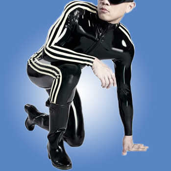 New Fashion Men Rubber Catsuit Latex Fetish Sexy Black Latex Male Bodysuit With 3 White Strips - DISCOUNT ITEM  10% OFF All Category