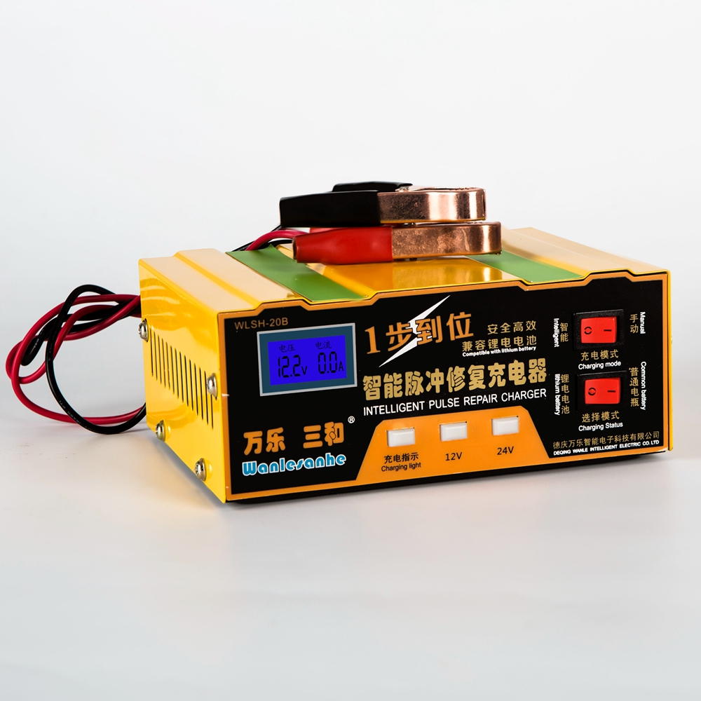 Universal 12V/24V Car Battery Charger Pulse Desulfation Charger for both 100AH Lead Acid Batteries and Lithium Batteries
