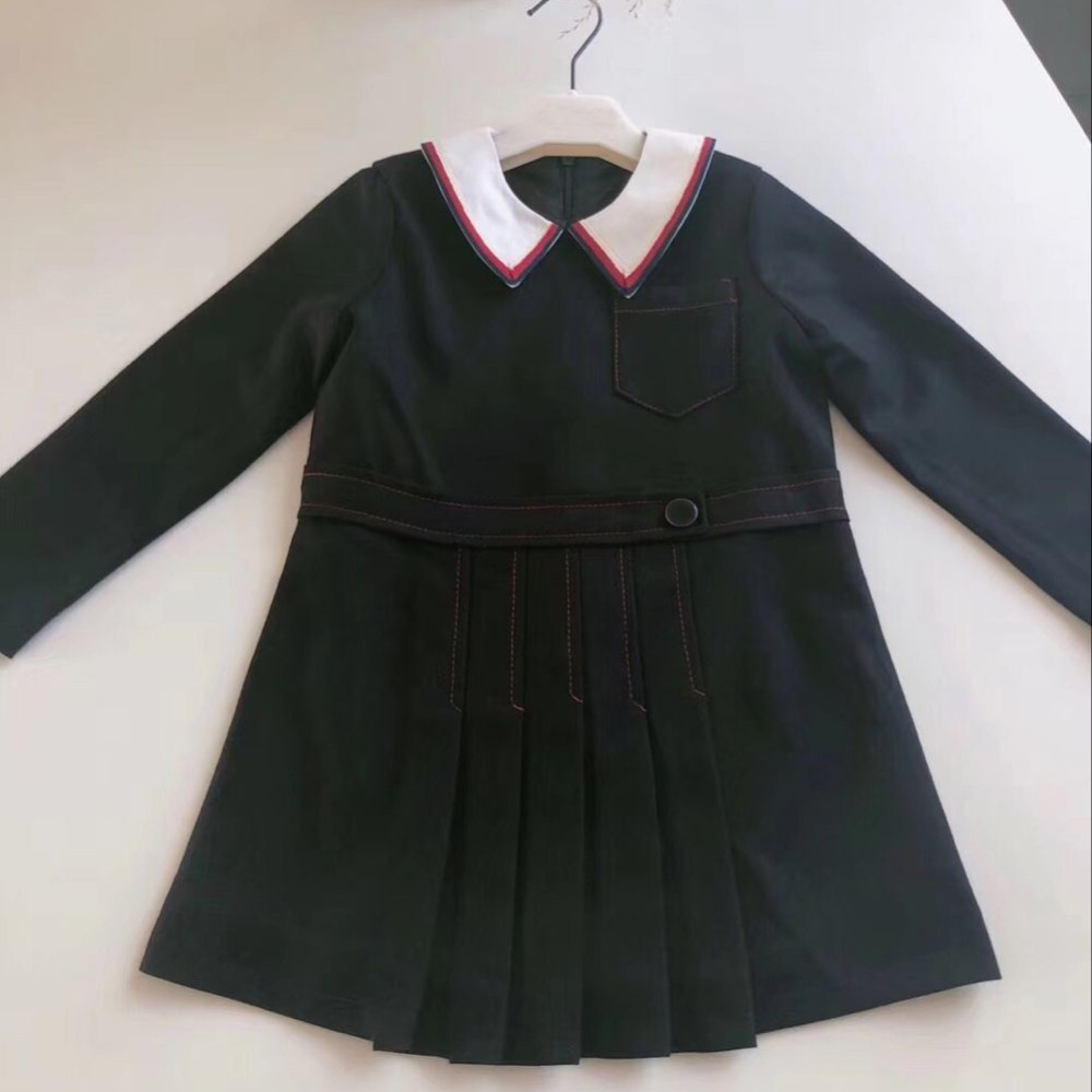 Children Girls Collar Vintage Dress Long Sleeve Autumn Dress New Fashion Black Color School Clothes in middle of September chic spaghetti strap pure color tank top ruffled collar long sleeve voile dress twinset for women