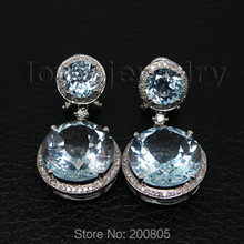 21.72Ct, натуральный бриллиант, голубой топаз, серьги, 14 к, белое золото, для свадьбы, ER002