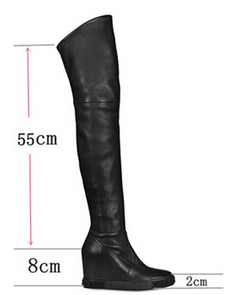 New Fashion High Quality Black Red Leather Boots Round Toe Slip-On Wedges Over The Knee Boots Spring/Autumn Women Long Boots