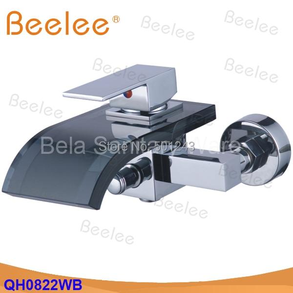 Hot Sale+Transparent Black Glass Wall mount chrome Waterfall Faucet Bath Basin Mixer tap(QH0822WB)