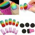 2 компл. 8 x губка замена ногтей для штамповки DIY дизайн комплект радуга губка щетка для ногтей штамповка маникюр M01909