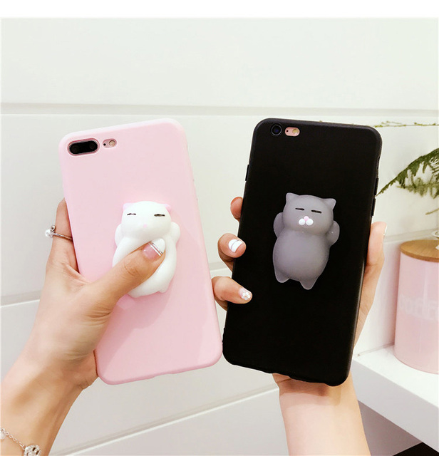 competitive price ba717 4e9ab US $2.99 |Cute Squishy 3D Cat Pink Phone Cases For iphone 8 8plus 6 6s 7  Plus 7Plus X x