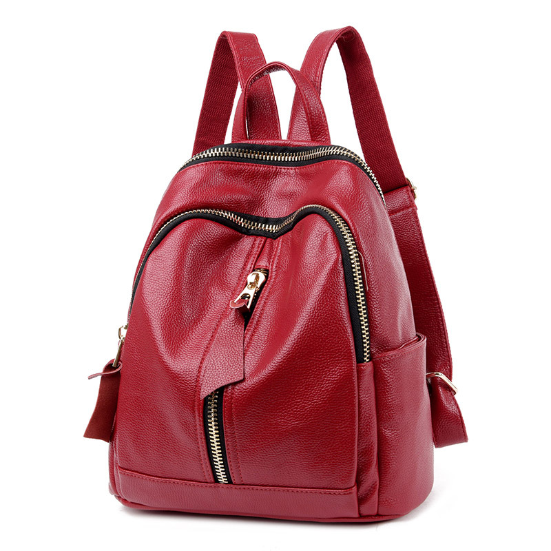 Fashion Womens Genuine Leather Backpacks Women Girls Students School Bag Shoulder Bags W ...