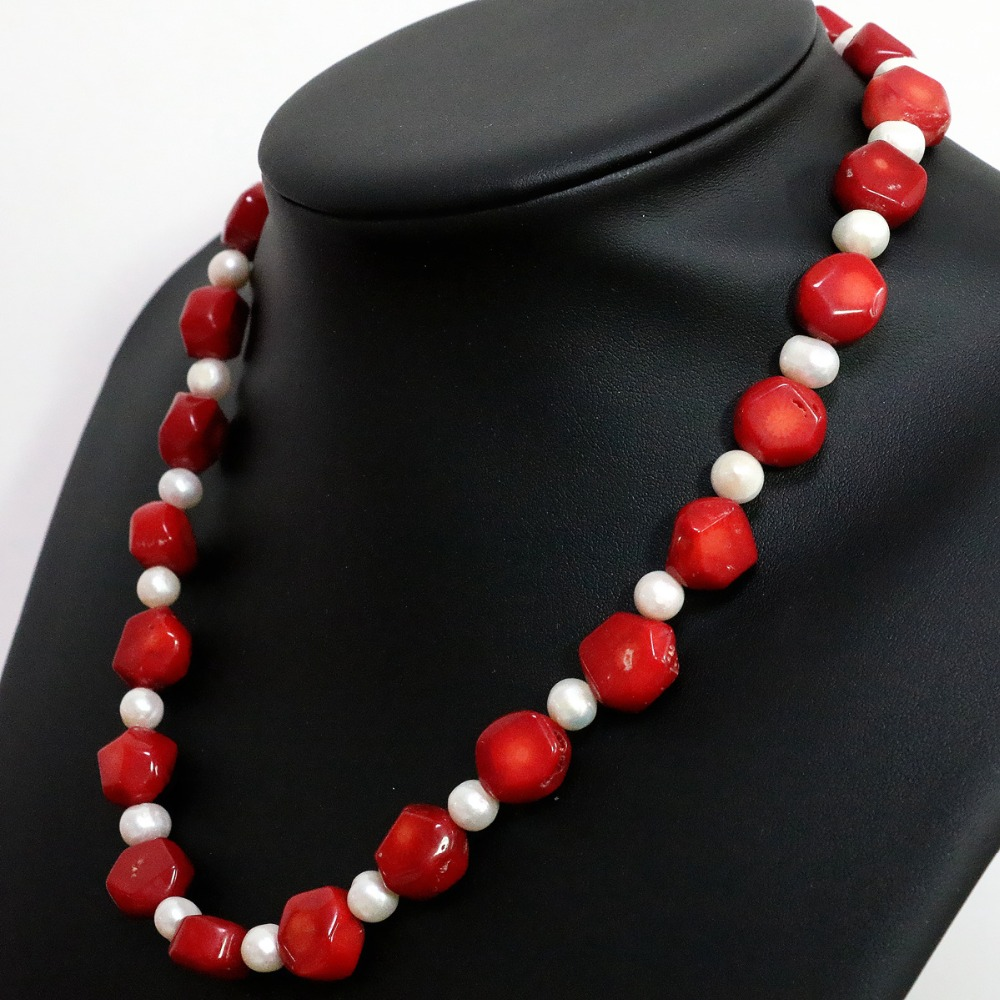 Natural red irregular coral 9-13mm noble white pearl spacer beads cute design hot necklace 18inch B1448