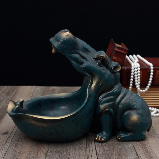 Abstract Hippopotamus Statue Decoration Resin Artware Sculpture Statue Decor Key Storage Tool Home Decoration Accessories D024 2