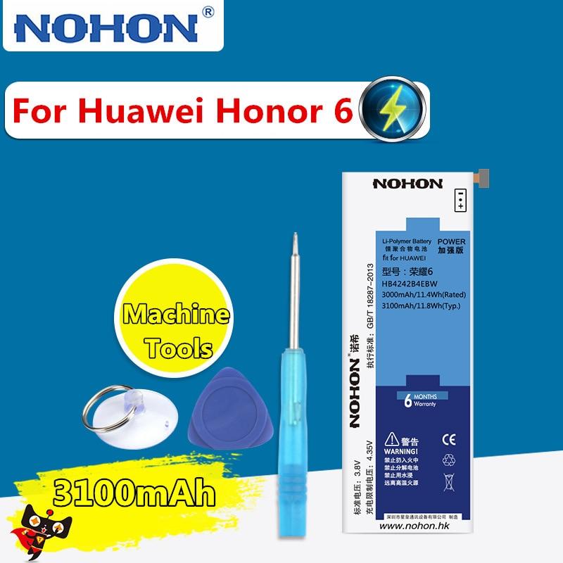 NOHON 3100mAh High Capacity Battery For Huawei Honor 6 H60 L01 HB4242B4EBW Built In Replacement Batteries