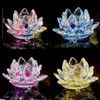 40mm Quartz Crystal Lotus Flower Crafts Glass Paperweight Fengshui Ornaments Figurines Home Souvenir Wedding Party Decor Gifts