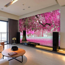 large mural customized 3D wallpaper abstraction painting with flowers tree behind sofa TV as background in living room bedroom цена 2017