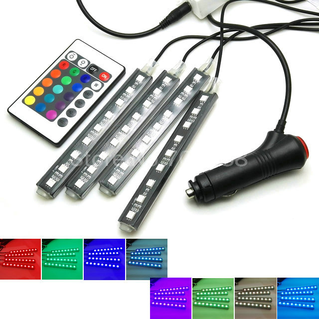 car indoor led atmosphere lamp wireless control 8 colors decorative strip lights car interior. Black Bedroom Furniture Sets. Home Design Ideas